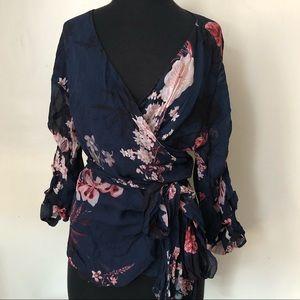 Zara Women's Wrap Floral Blouse